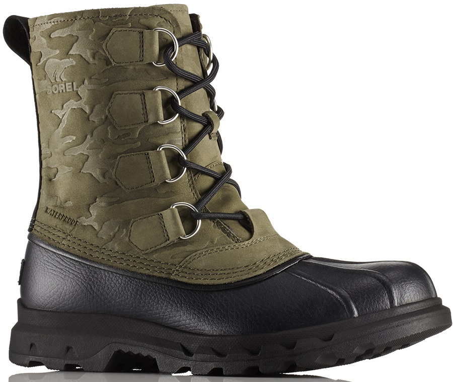 Sorel Portzman Classic Camo Men's Winter Snow Boots, UK 12 Black/Nori