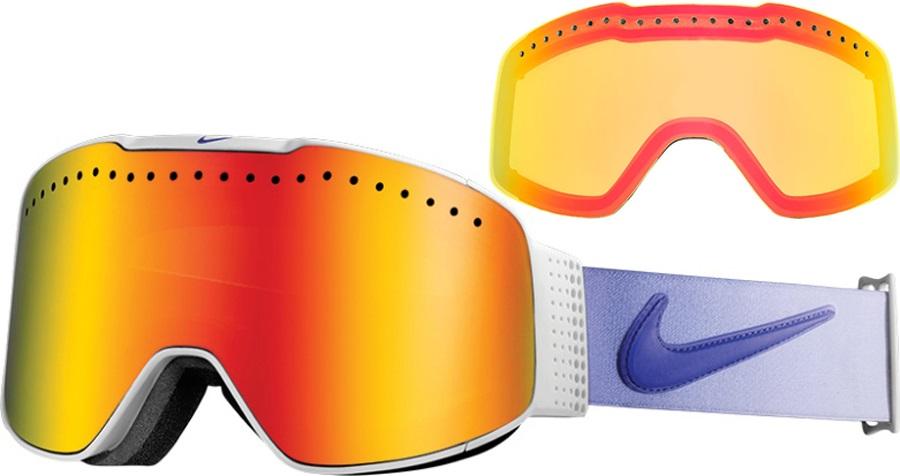 Nike SB Fade Ski/Snowboard Goggles, M/L, White/Purple Haze, Red Ion
