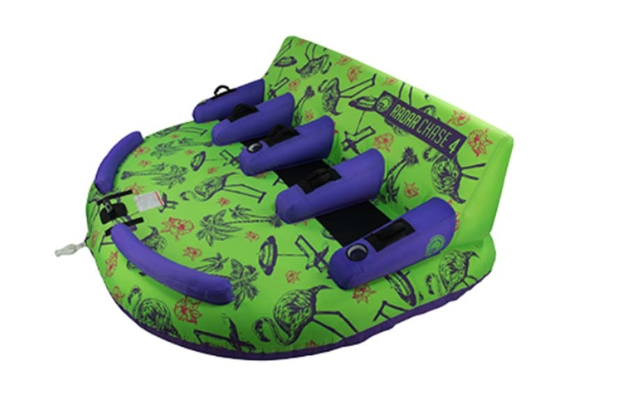 Radar Chase Towable Inflatable Tube, 4 Rider Green Purple 2020