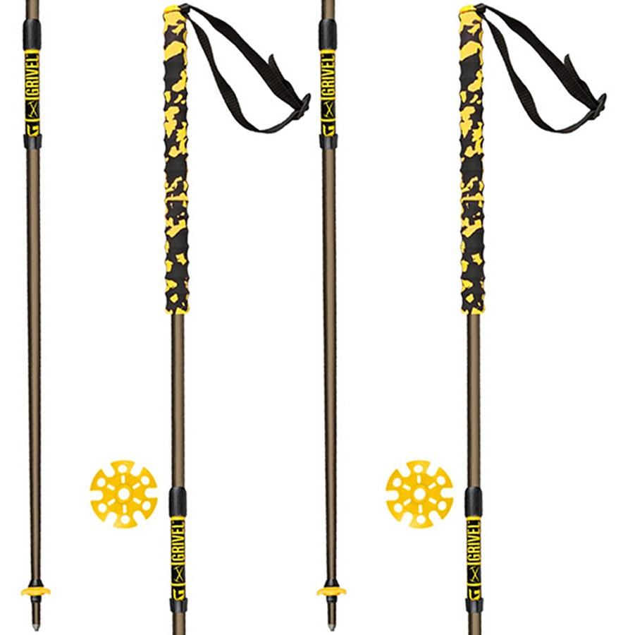 Grivel Trail 2 Knee System Folding Trekking Poles, 112cm Black/Yellow
