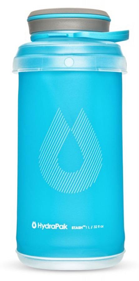 HydraPak Stash Bottle Collapsible Water Bottle, 1L Malibu Blue