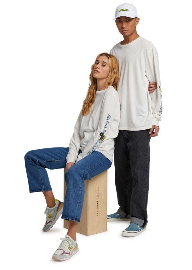 Analog Adult Unisex Blackthorn Long Sleeve T-Shirt, S Stout White