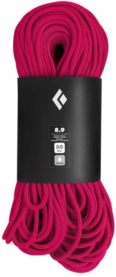 Black Diamond 8.9 Dry Rock Climbing Rope, 50m Ultra Pink