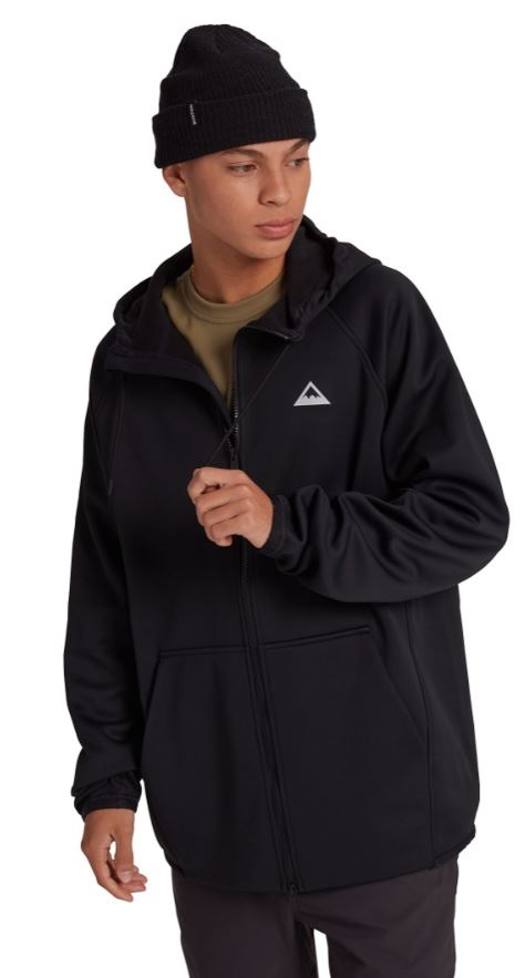 Burton Adult Unisex Crown Weatherproof Full-Zip Hooded Fleece, M True Black