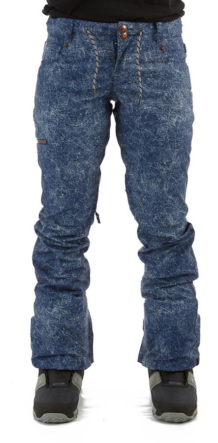 DC Viva Women's Ski/Snowboard Pants, S Blue Acid Wash Denim