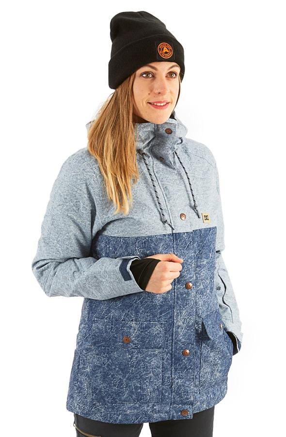 DC Cruiser Women's Ski/Snowboard Jacket, XS Dark Blue Acid Wash Denim