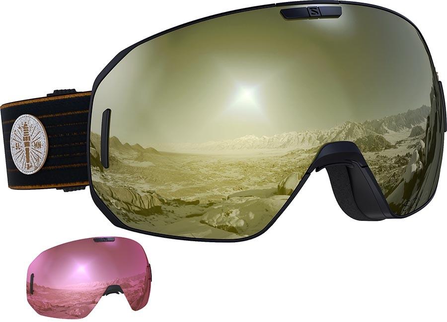 Salomon S/Max Sigma Black Gold Snowboard/Ski Goggles, M/L Cafe Racer