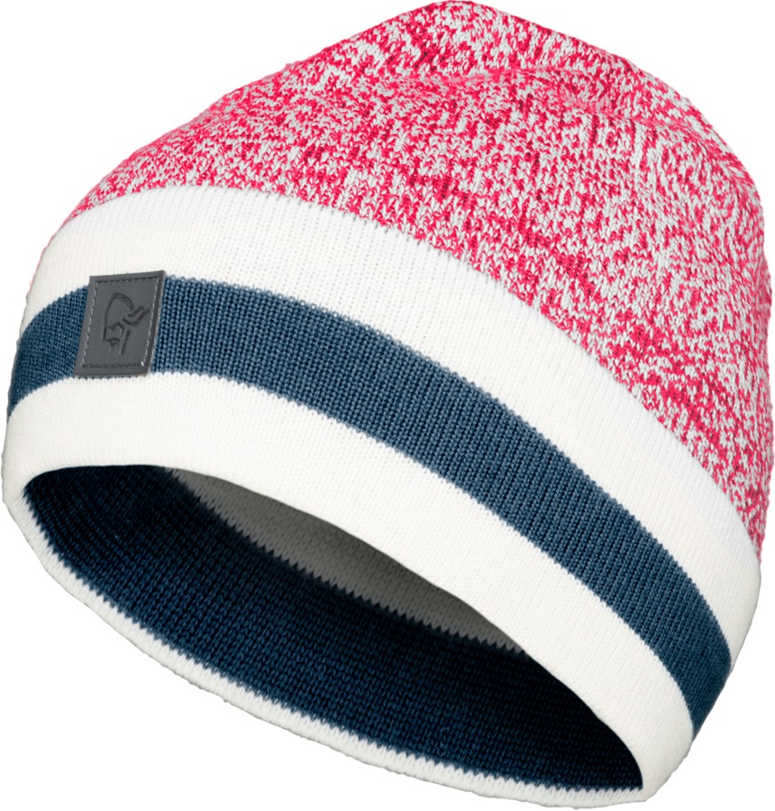 Norrona /29 Marl Knit Stripe Merino Wool Winter Beanie, Jester Red