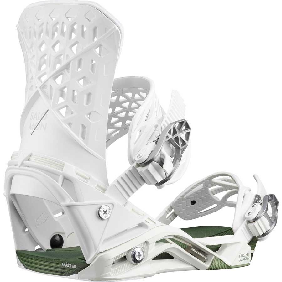 Salomon Highlander Snowboard Binding, M White/Oil Green 2020
