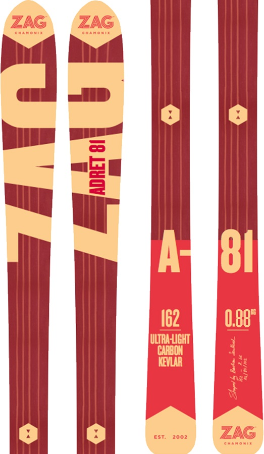 ZAG Adret 81 Skis & Skins, 177cm Red/Orange 2018