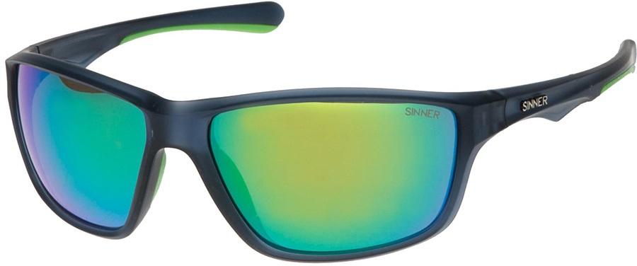 Sinner Eyak Sintec Sports Green Oil Wrap Around Sunglasses, Cry Blue