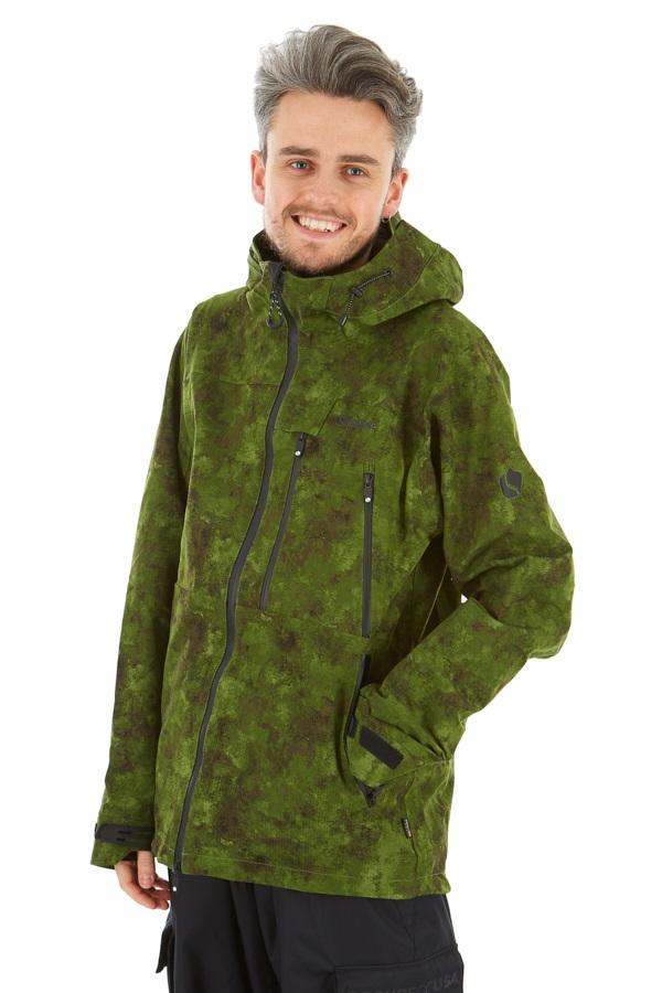 Bonfire Aspect Stretch 3L Ski/Snowboard Jacket, M Green Watercolour
