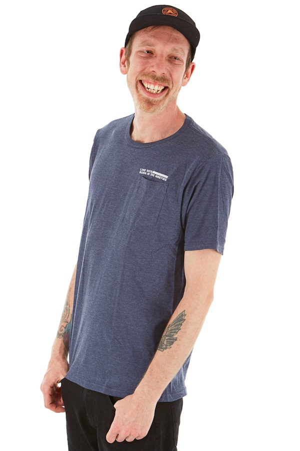 LINE Skis Pocket T Shirt Born In The Nineties, L Heather Navy