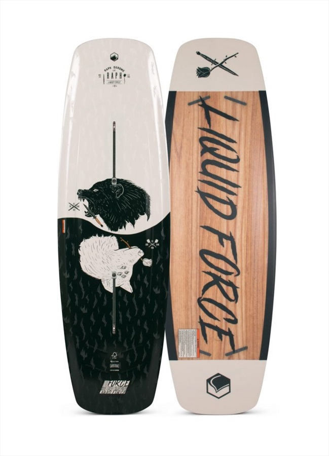 Liquid Force Raph Wood Core Park Track Wakeboard, 147 Black Wht 2020