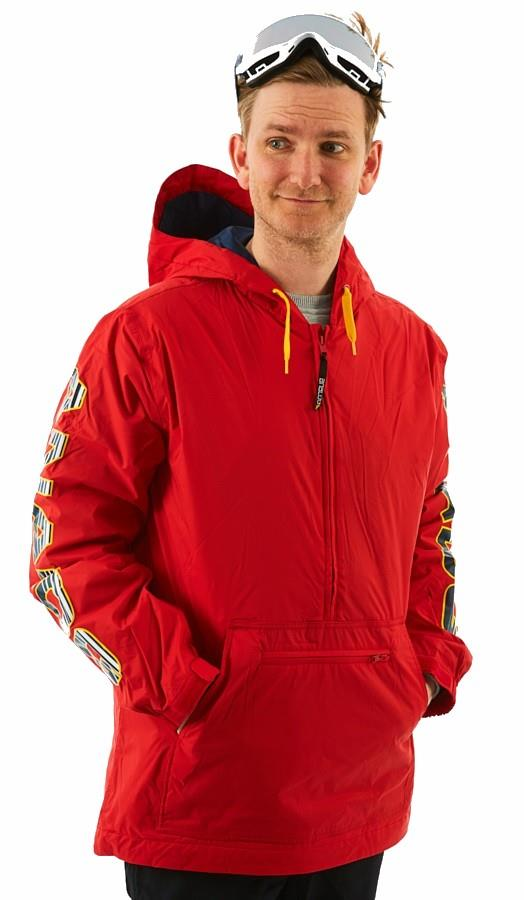 Analog Chainlink Anorak Pull Over Snowboard/Ski Jacket, S Process Red