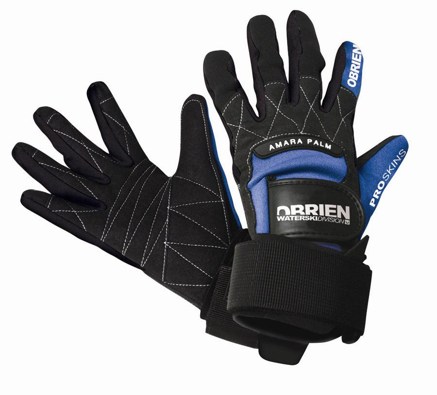 O'Brien Pro Skin Waterski Wakeboard Gloves, XS - 6 Black Blue