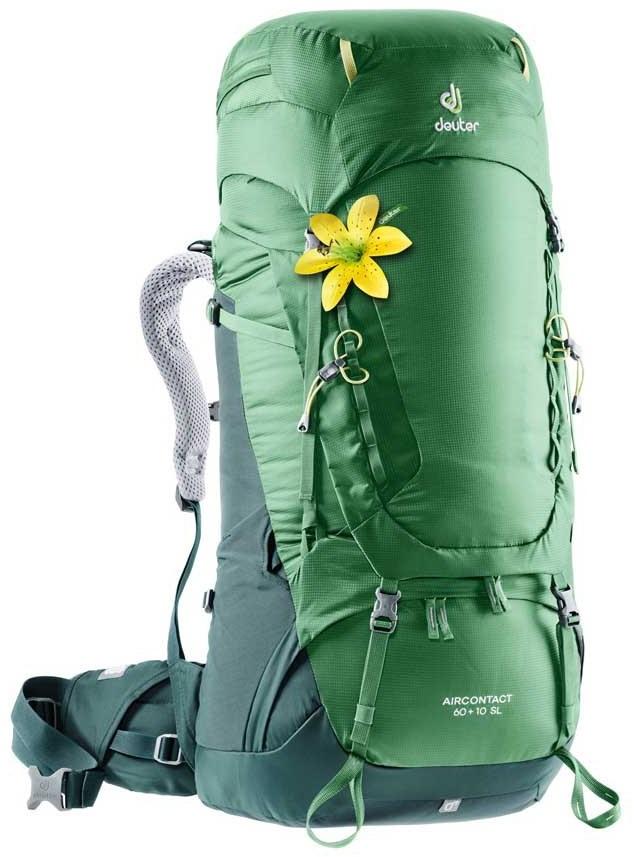 Deuter Aircontact 60 + 10 SL Women's Backpack, 60L Leaf/Forrest