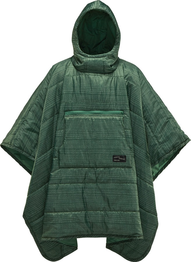 ThermaRest Honcho Poncho Hooded Thermal Camping Blanket, Green Print