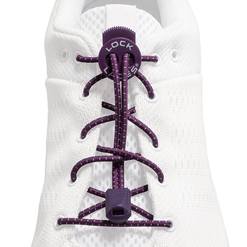 Lock Laces No-Tie Replacement Elastic Shoelaces, One Size Purple