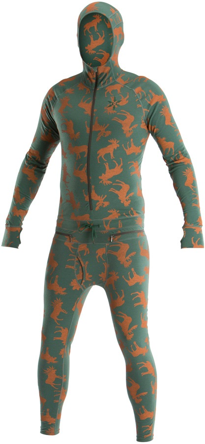 Airblaster Classic Ninja Suit Hooded Thermal Base Layer S Olive Moose