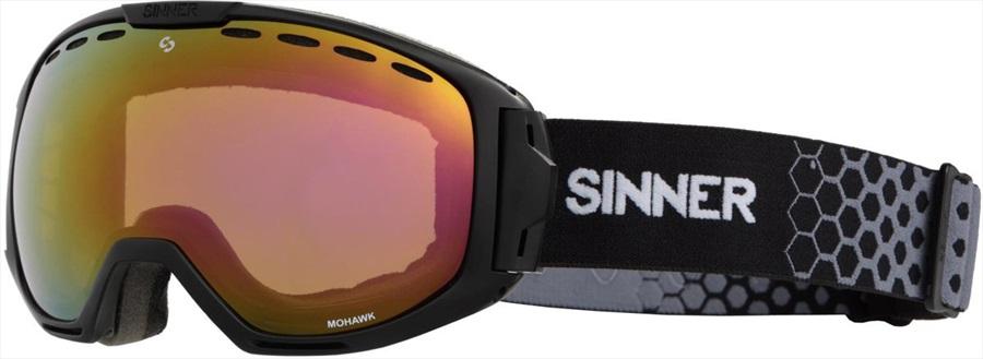 Sinner Mohawk Full Red Snowboard/Ski Goggles M Matte Black