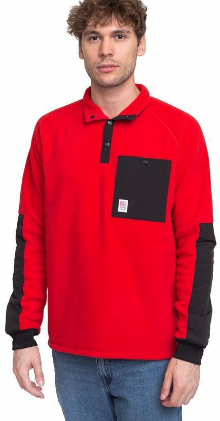 Topo Designs Mountain Pullover Fleece, S Red/Black