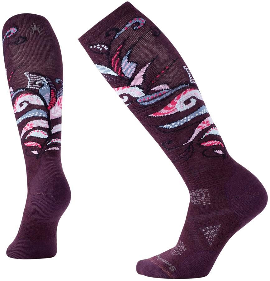 Smartwool Womens PhD® Ski Medium Pattern Women's Ski Socks, L Bordeaux