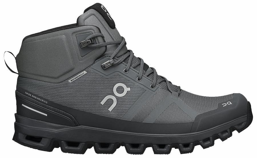 On Cloudrock Waterproof Men's Hiking Shoes, UK 7 Rock/Eclipse