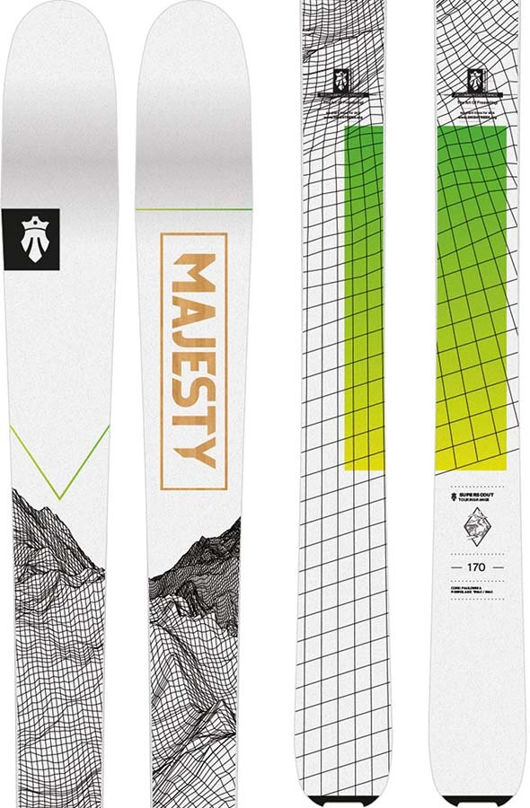 Majesty Adult Unisex Superscout Skis 170cm, White/Lime, Ski Only, 2021