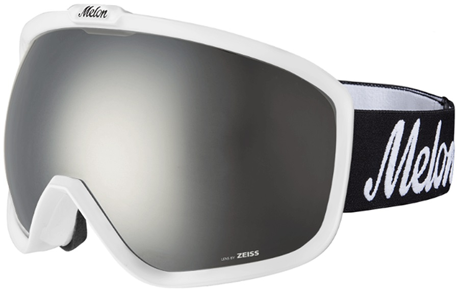 Melon Jackson Silver Chrome/Logo Strap Snowboard/Ski Goggle, M/L White