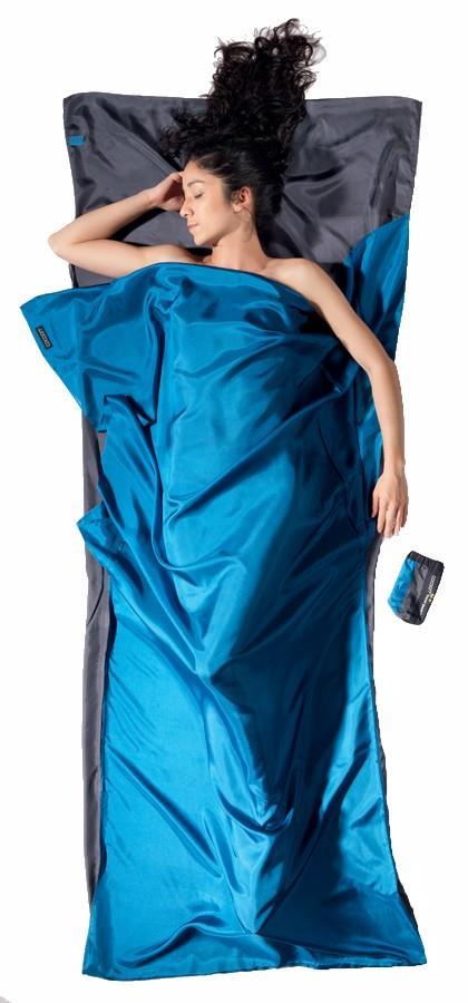 Cocoon TravelSheet Silk Sleeping Bag Liner, Rhino/Cornflower
