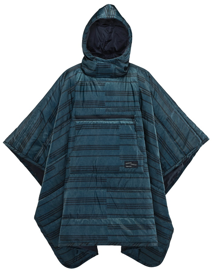 ThermaRest Honcho Poncho Hooded Thermal Camping Blanket, Blue Print