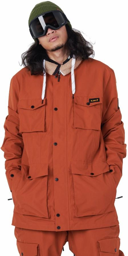 Planks X Woodsy 'Yeah Baby' Ski/Snowboard Jacket, M Burnt Orange