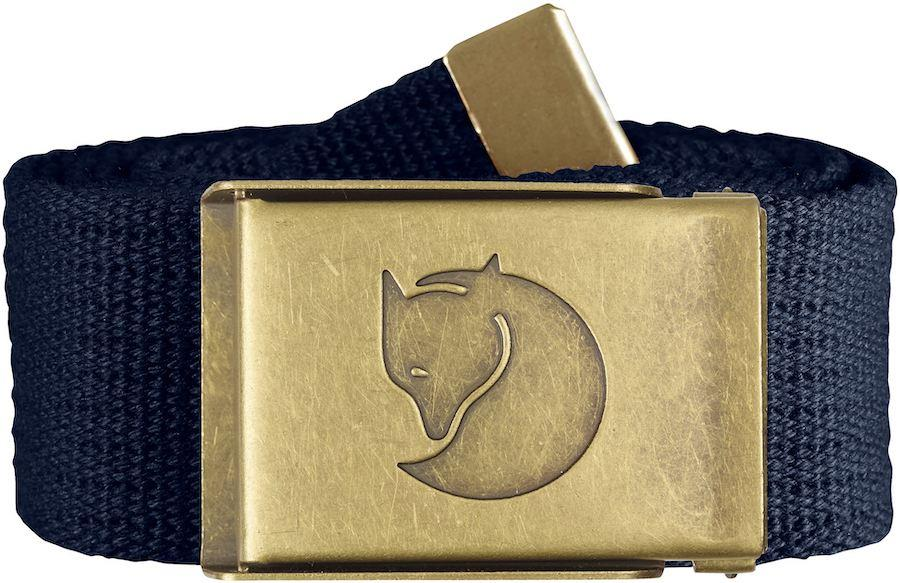 Fjallraven Canvas Brass 4cm Adjustable Webbing Belt, Dark Navy