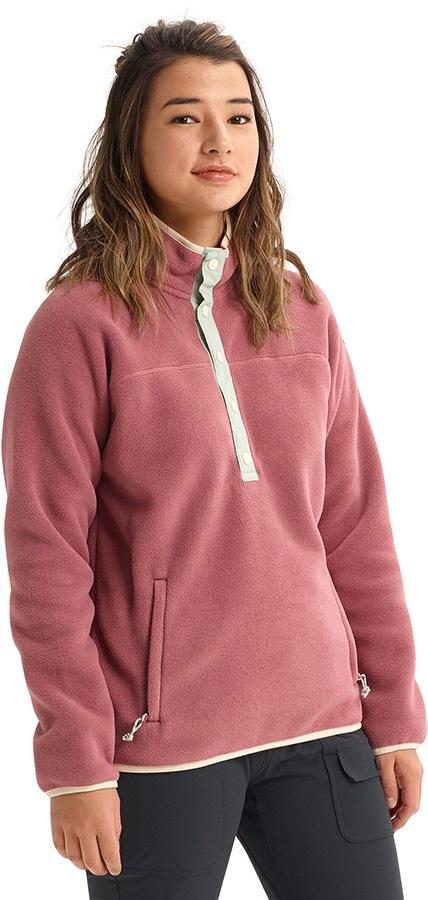 Burton Hearth Pullover Women's Snap-Up Fleece, L Rose Brown