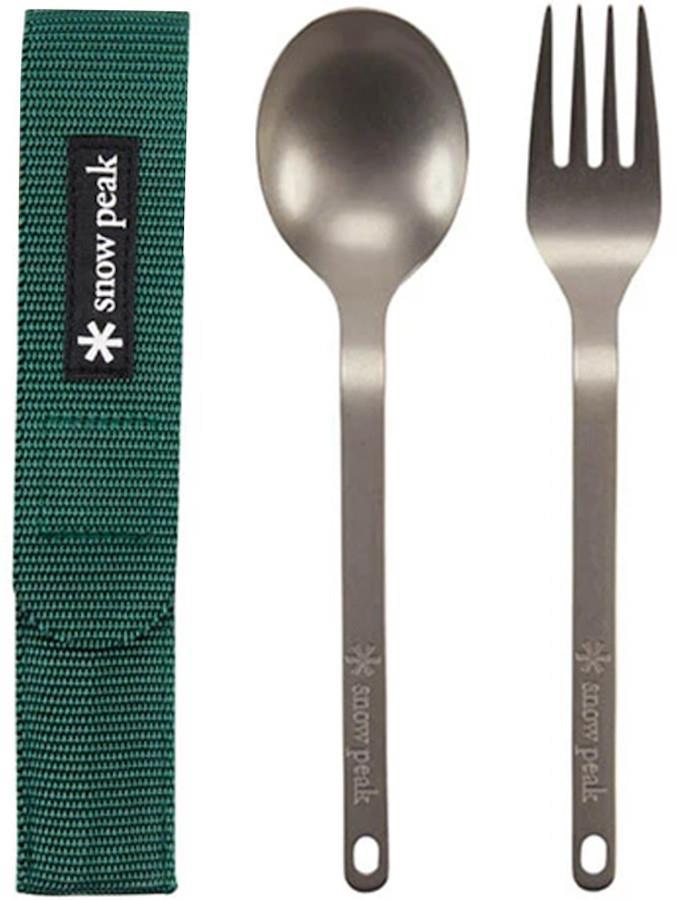 Snow Peak Titanium Fork & Spoon Set Camping Cutlery Green