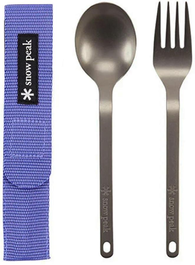 Snow Peak Titanium Fork & Spoon Set Camping Cutlery Purple