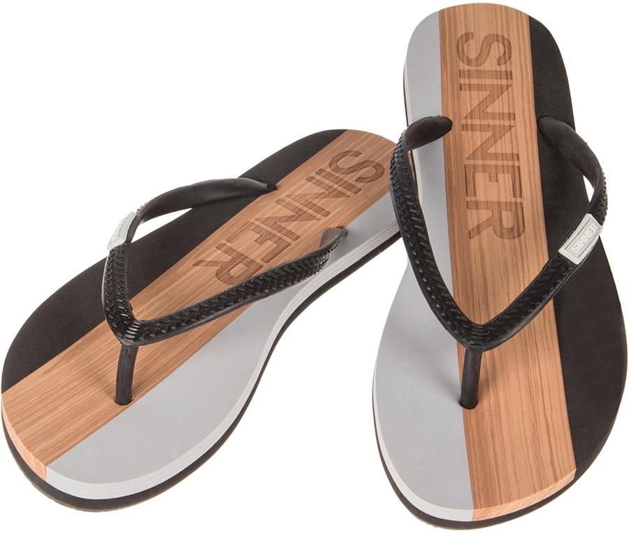 Sinner Capitola Men's Flip Flops, UK 11 / EU 45 Black/Light Brown