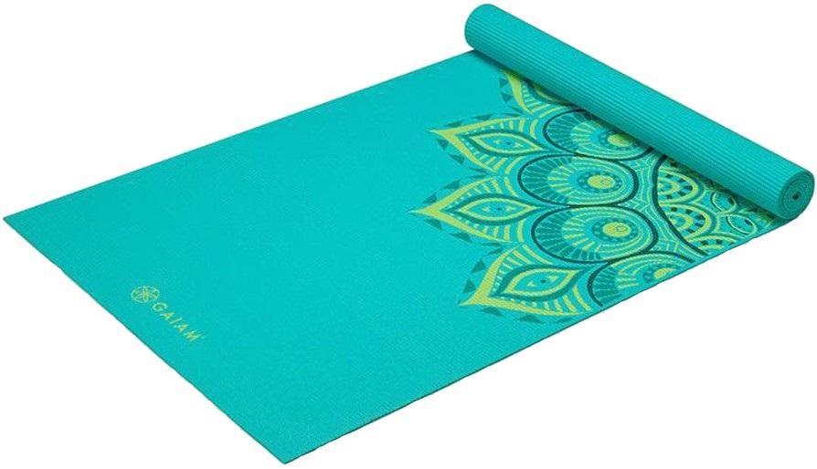 Gaiam Premium Printed Yoga/Pilates Mat, 6mm Capri