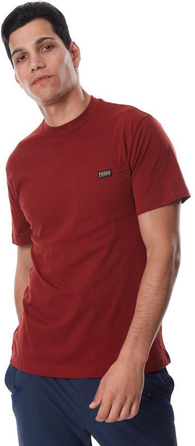 Filson Ranger Solid Pocket Short Sleeve Cotton T-Shirt M Brick Red
