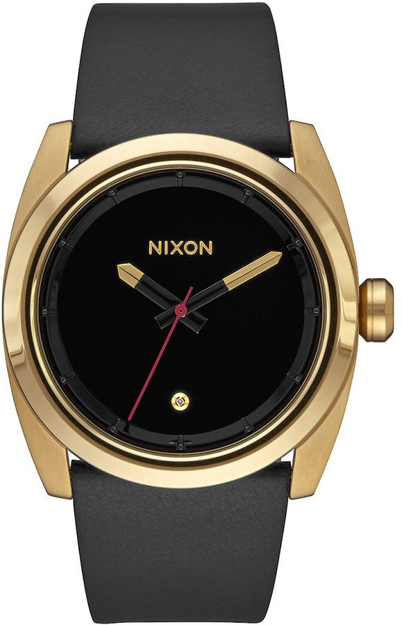 Nixon Kingpin Leather Men's Wrist Watch Gold/Black