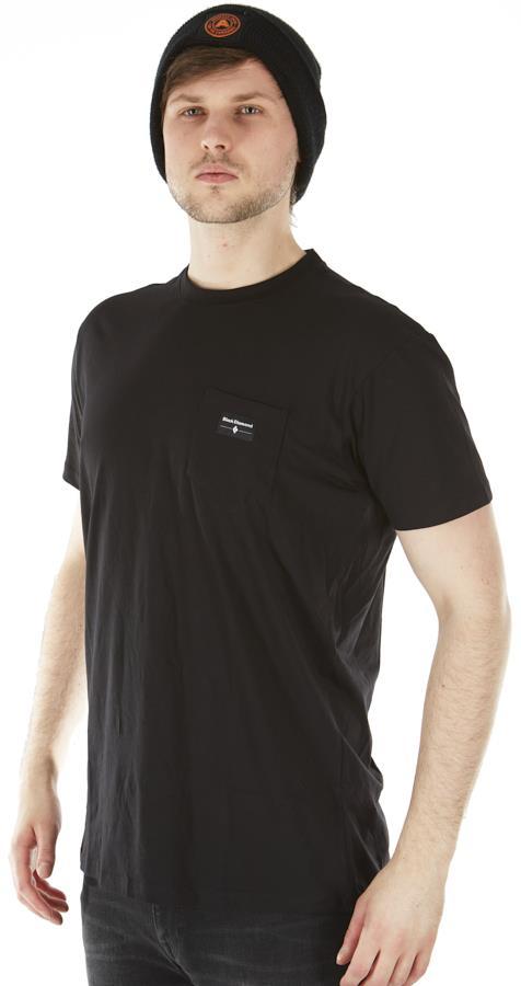 Black Diamond Adult Unisex Pocket Label Tee Organic Cotton T-Shirt, S Black