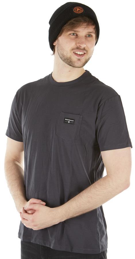 Black Diamond Adult Unisex Pocket Label Tee Organic Cotton T-Shirt, S Carbon