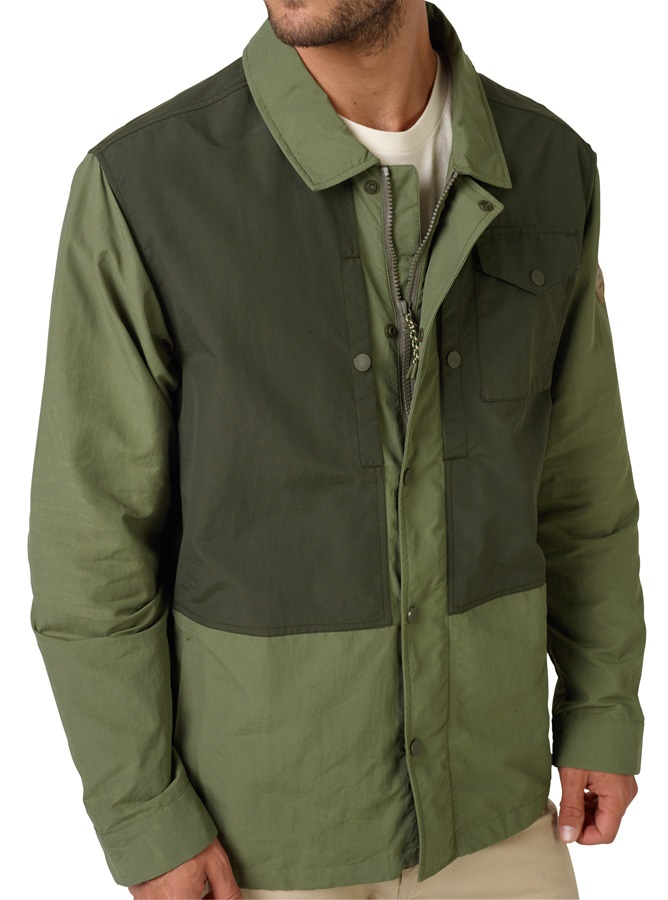 Burton Tailrace Jacket Waxed Nylon Coat, M Forest Night / Clover