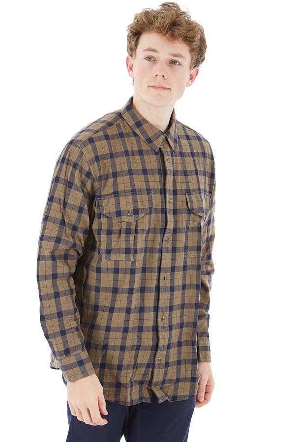 Filson Lightweight Alaskan Guide Long Sleeve Shirt XL Heather Tan Navy
