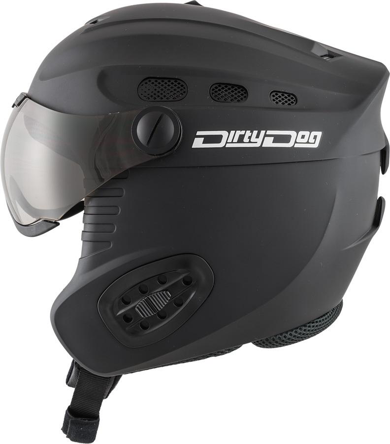 Dirty Dog Apache Ski/Snowboard Visor Helmet S Matte Black Flash Silver