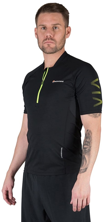 Montane Mens Fang Zip T Shirt Tee Top Black Sports Outdoors Breathable