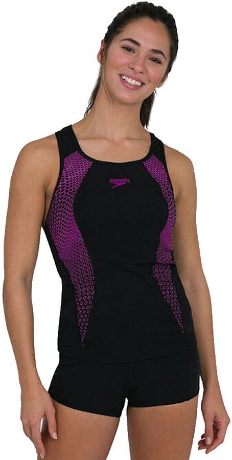Speedo Placement Racerback Tankini Boyleg Womens Swimsuit UK 16 Black