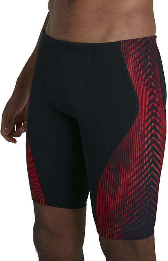 Speedo Pro Endurance+ Jammer Men's Swimming Trunks, L Black/Red