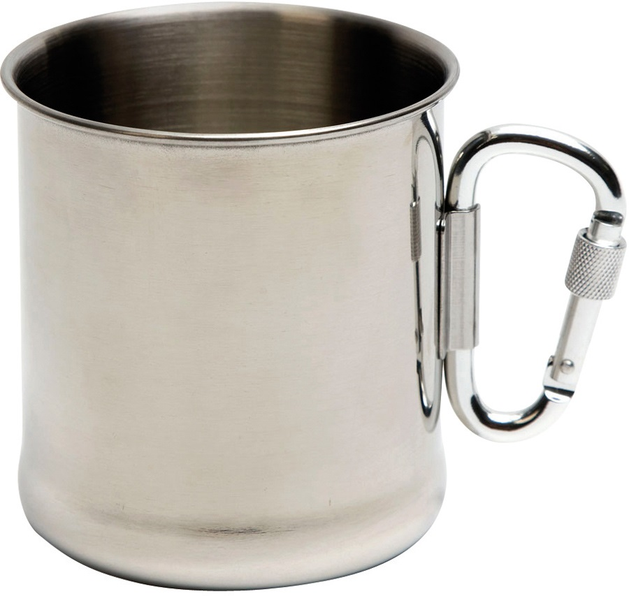 Bo-Camp Stainless Steel Mug Camping Cup With Carabiner, 300ml